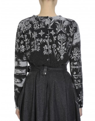 BLOOMSBURY: Button-up back sweater with metallic over print