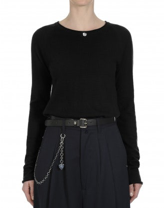 PURIST: Black wide round neck knit top in pure cashmere