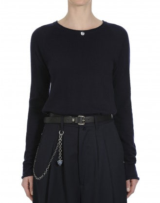 PURIST: Navy wide round neck knit top in pure cashmere