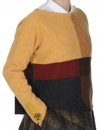 MISTERY: Colour blocked sweater in pure Shetland wool