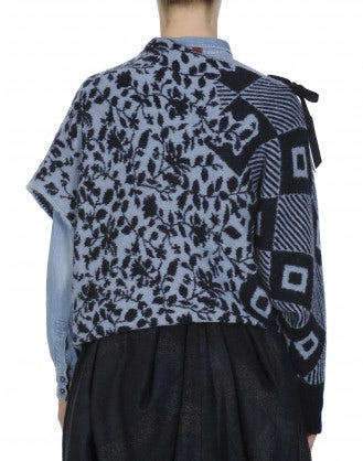 QUARREL: Asymmetric sleeve sweater in geometric and floral