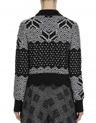 MAGICAL: Grey and black fair isle turtleneck sweater