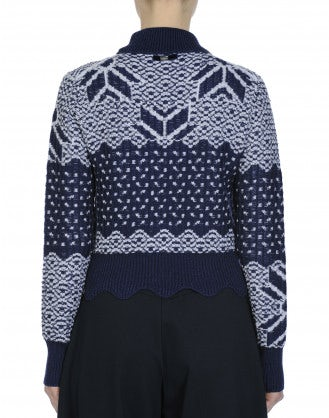 MAGICAL: Blue and white fair isle turtleneck sweater