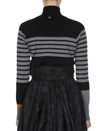 ANIMATE: Black wool turtle neck with stripe and floral flock