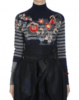 ANIMATE: Navy wool turtle neck with stripe and floral flock