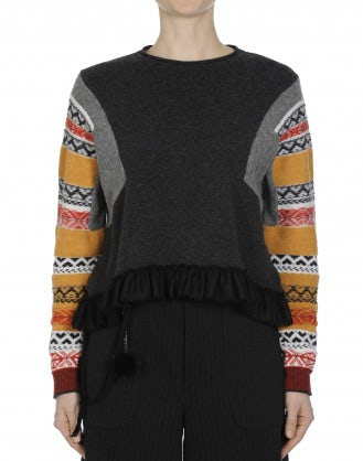 AMPLIFY: Grey reverse buttoned sweater with multi colour sleeves