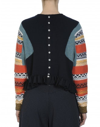 AMPLIFY: Blue reverse buttoned sweater with multi colour sleeves