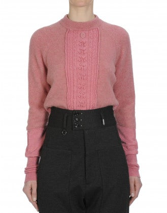 CRITIC: Rib collar sweater in pink yak blend with cable front