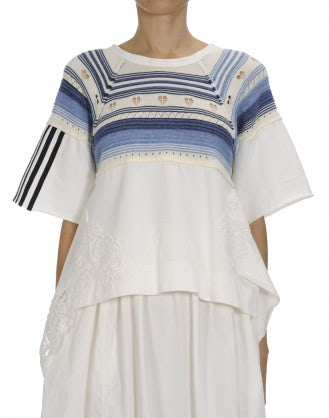IDEALISE: Short sleeve top with knitted stripe yoke