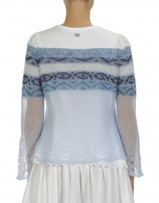 LATITUDE: Cotton jersey and knitted mohair top