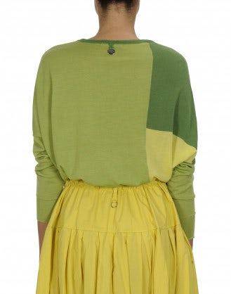 SEQUEL: Green and yellow colour block sweater