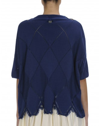 REVEAL: Short sleeve sweater with scallop hem