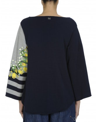 ARRAY: Navy and grey sweater with floral print