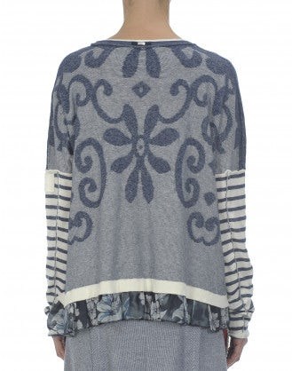 MARINA: Blue Breton stripe and curlicue knit sweater