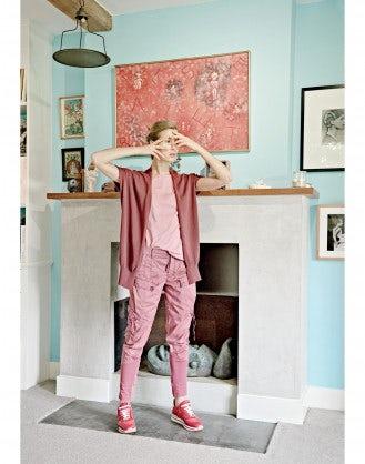 DECK: Gilet-cardigan in maglia rosso borgogna