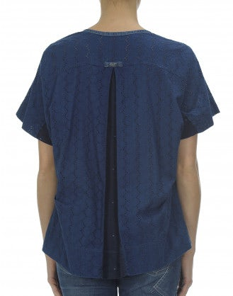 CERULE: Top in maglia e lino con motivo floreale