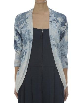 BEAU: Cardigan in cotone con stampa floreale blu