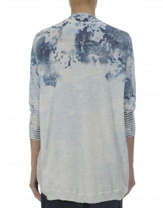 BEAU: Blue floral cotton curve front cardigan
