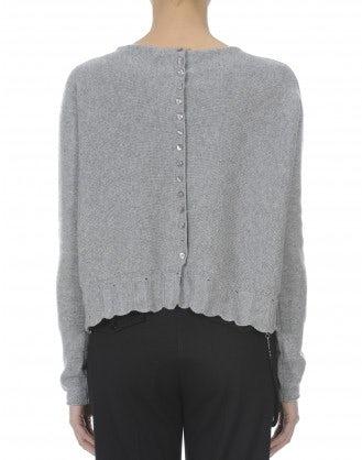FREIZE: Cardigan grigio chiaro con abbottonatura posteriore