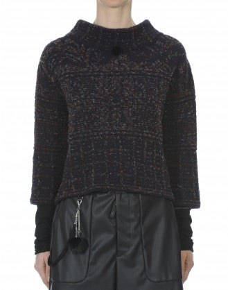 KILIM: Kilim patterned cropped funnel neck knit
