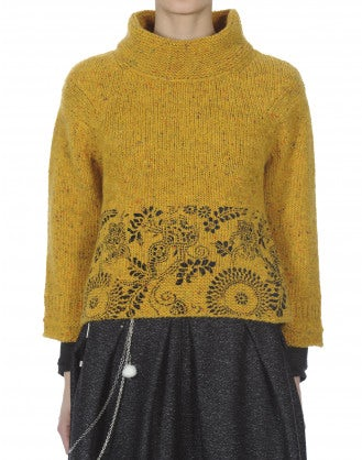 KLIMT: Mustard Donegal tweed flock sweater