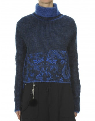 PROUST: Navy and marine-flock print mohair roll neck