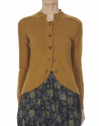 GENTRY: Cardigan curvo color caramello