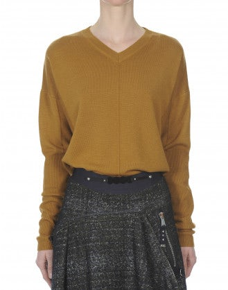 CARBON: Caramel V-neck knit in wool, silk and cashmere