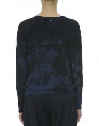 METAPHOR: Blue-to-black flock print knit
