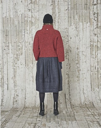 LAZULI: Cardigan in tweed Donegal rosso