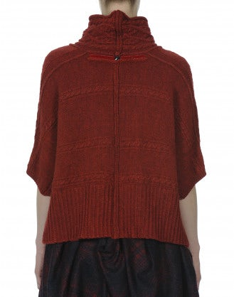 SAMOVA: Red cable stitch short sleeve knit