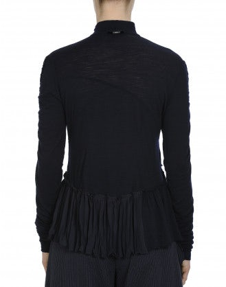 DADA: Ultra-light ruched and ruffled navy jersey top