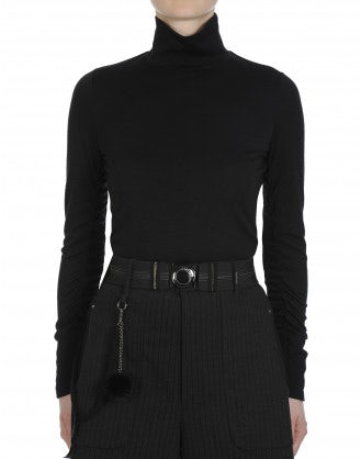 ABLE: Long sleeve jersey t-shirt in black stretch wool