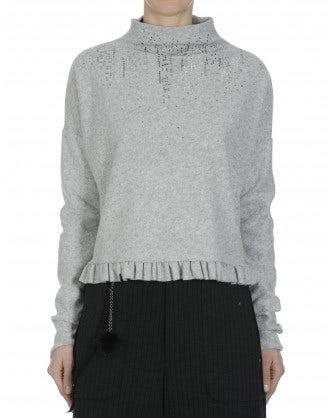 QUIBBLE: Top in jersey grigio chiaro con orlo a balza