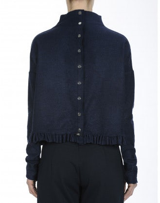 QUIBBLE: Top in jersey blu navy con orlo a balza