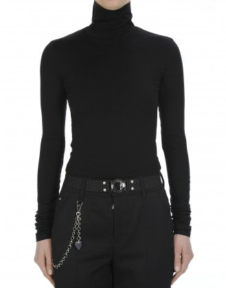 LOGICAL: Black roll neck top in fine cotton stretch