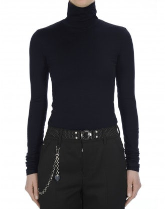LOGICAL: Navy roll neck top in fine cotton stretch