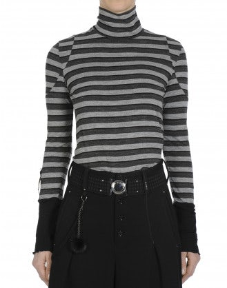 TEMPTING: Grey and black stripe turtleneck