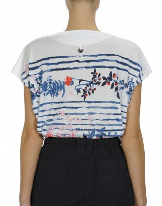 AMUSE: Stripe and floral printed t-shirt