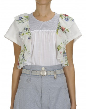 SCENT: Plain and stripe top with floral ruffle