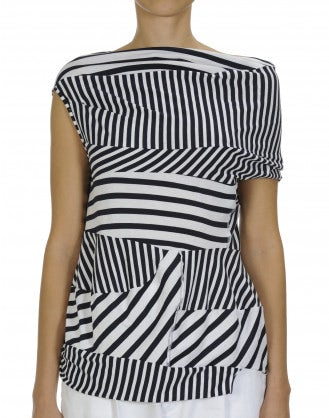 JOSTLE: Asymmetrically draped stripe top