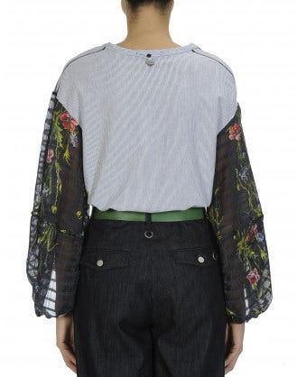 GATHERING: Jersey top with long floral sleeves