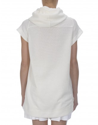 BASELINE: Crème zip front hooded jersey tunic
