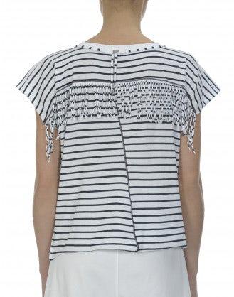 GAZEBO: Blue stripe jersey fringed tee