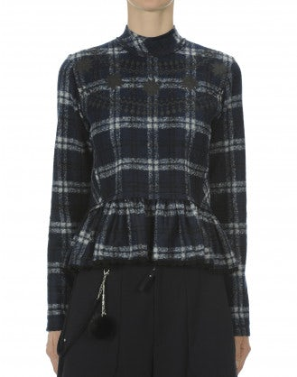 MIASMA: Blue tartan fleece sweater