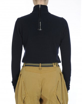 LURE: Turtle neck top in navy blue wool jersey blend