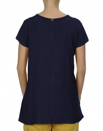PROPOSE: T-shirt in modal e raso di seta color blu navy