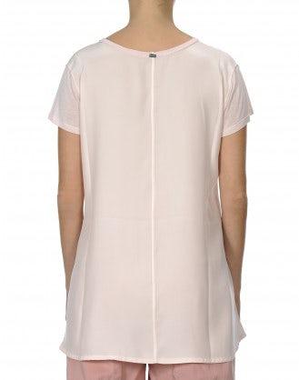 PROPOSE: T-shirt in modal e raso di seta color rosa pallido