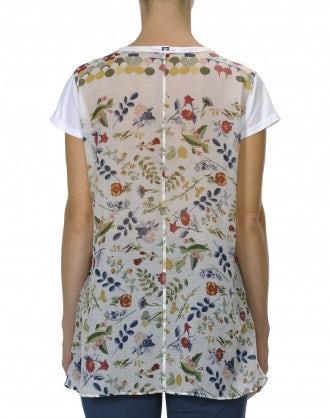 FLOURISH: T-shirt in jersey di cotone e voile
