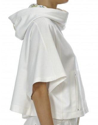 OFFBEAT: White hooded, wide sleeve cropped top